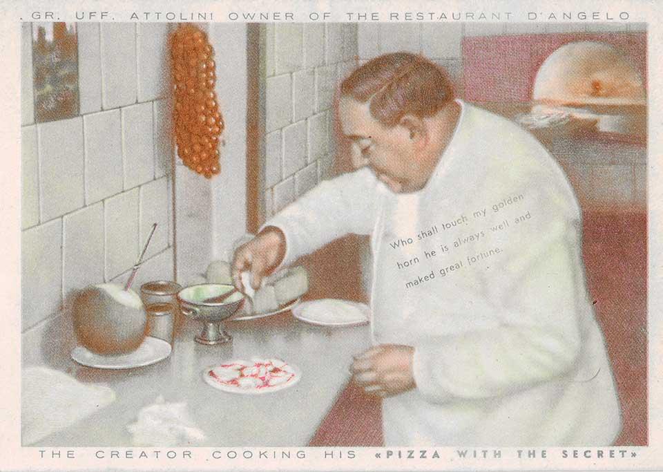 Pizza col segreto, cartolina pubblicitaria ristorante D'Angelo, Napoli, ca 1950