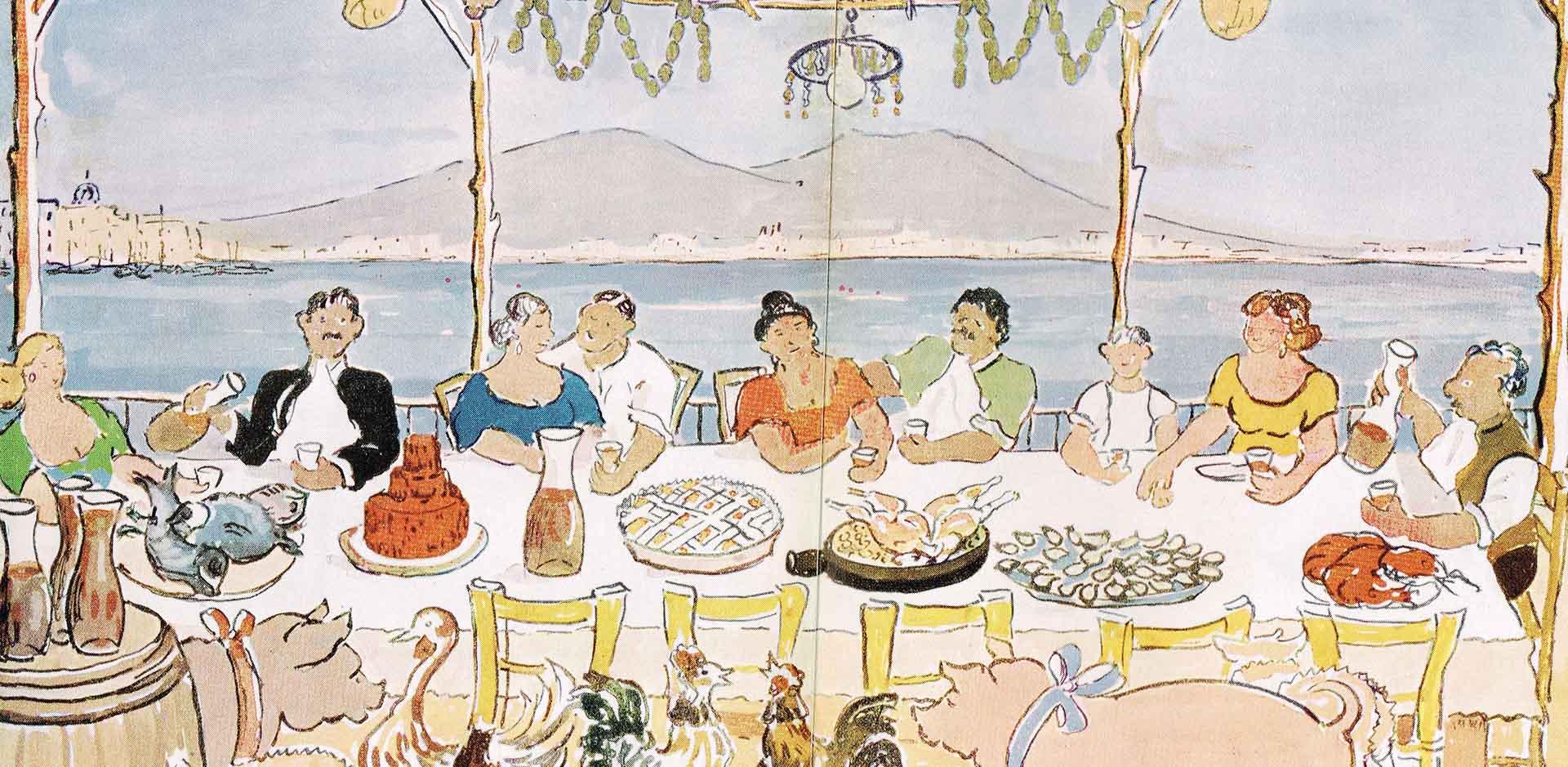 Pastiera, disegno di Mario Cortiello, in Partenope in cucina di Mario Stefanile, AASCT Napoli, 1954